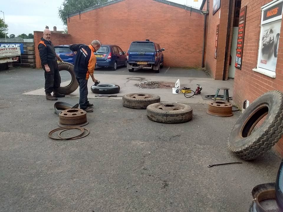 fixing tyres outside store